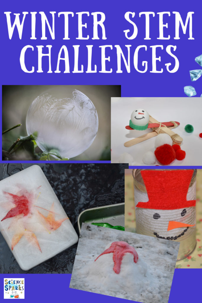 Winter STEM challenges for kids. Huge collection of Winter science STEM and science experiments.