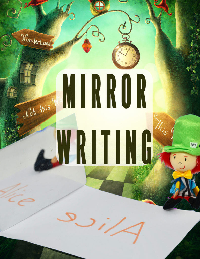 Mirror writing Alice in Wonderland science activity. Great book themed science activity for kids