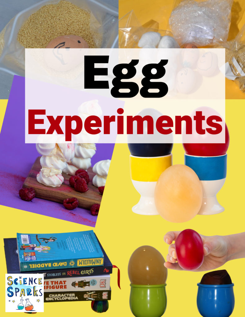 image shows a collage of egg themed science experiments for kids. egg drop, bouncy eggs, coloured eggs, meringue and more kitchen science for kids