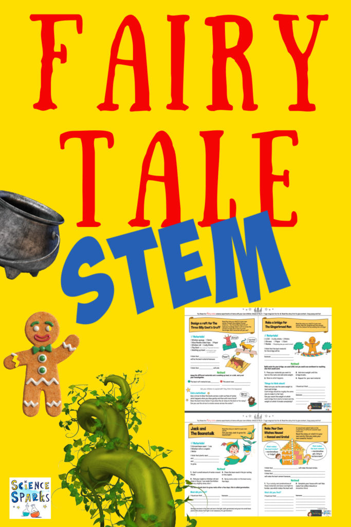 Collage of a free printable containing four fairy tale themed STEM Challenges.