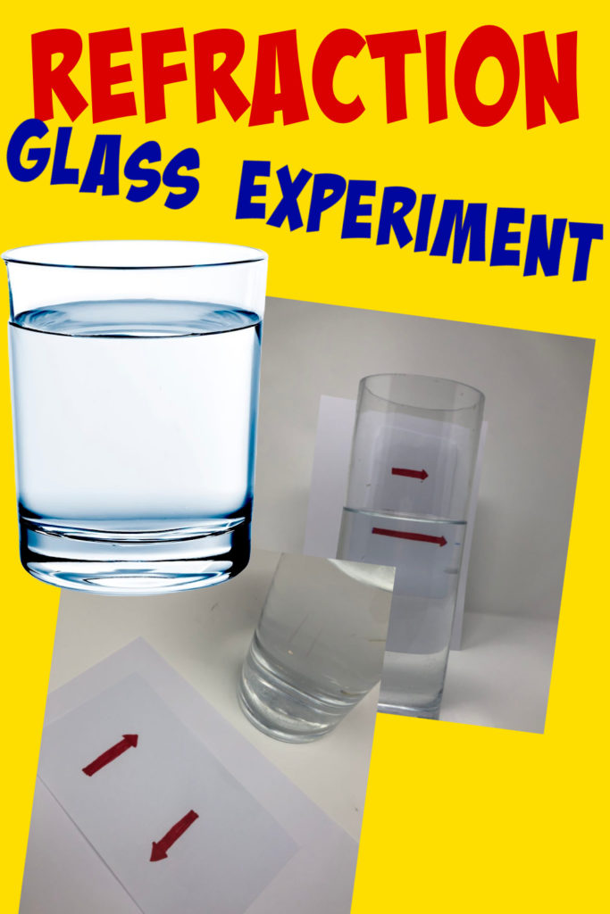 Image of arrows reversing and a glass of water as part of a refraction experiment.