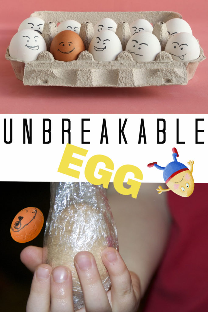 Egg wrapped in cling film to make an unbreakable egg