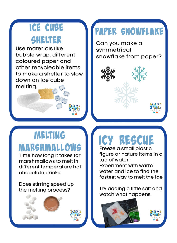 Printable STEM Challenges for kids. Print and go! Melt marshmallows in hot chocolate, make a shelter for an ice cube and more winter science and winter STEM for kids