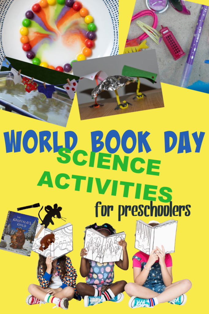 collage image of science activities based in books for preschoolers. Includes Gruffalo, Aliens Love Underpants and The Little Mermaid. Easy world book day science experiments for preschoolers