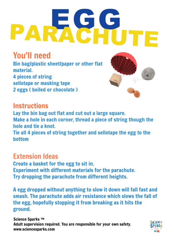 instructions for an egg parachute experiment