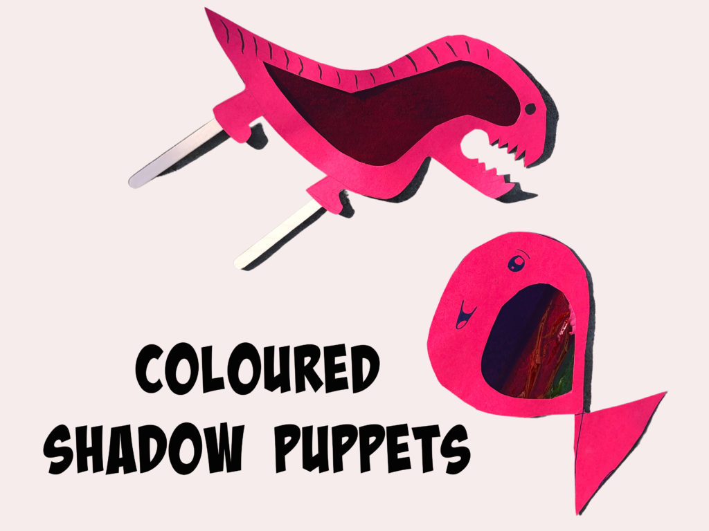 colourful shadow puppets made with cardboard and cellophane
