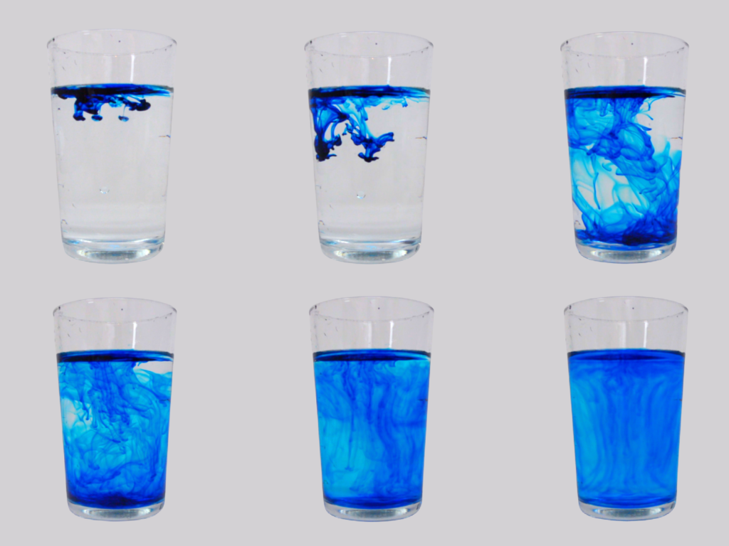 Food colouring in water, used to demonstrate diffusion