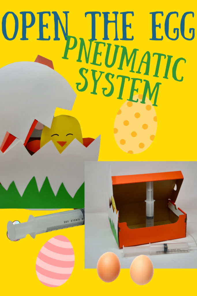 Easter STEM Challenge - opening chick eggs - great pneumatic project for kids