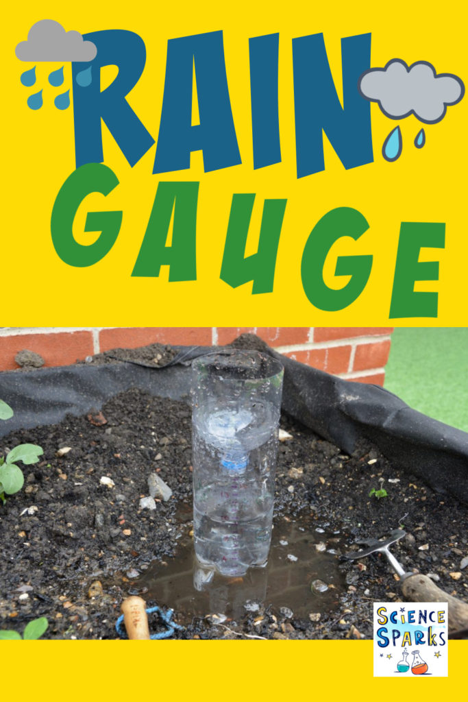Image of a rain gauge in a garden - made from a plastic bottle