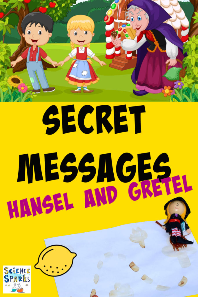 Secret messages - Hansel and Gretel - collage of lemon juice secret messages - an activity to do while reading Hansel and Gretel