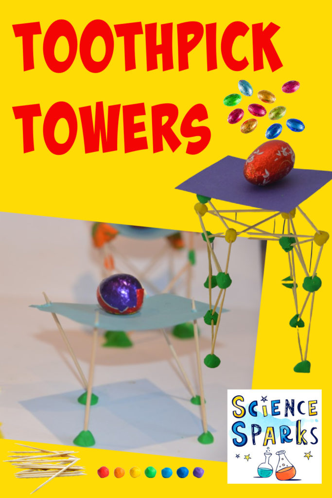Build towers with toothpicks and plasticine strong enough to support a chocolate egg. Easy Easter STEM Challenge for kids