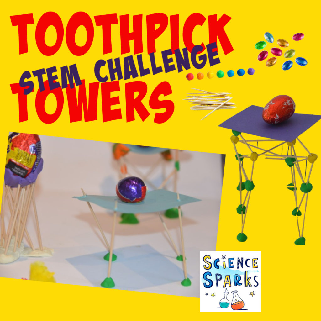 toothpick towers STEM challenge. Image of towers built with toothpicks and plasticine as part of an Easter STEM Challenge.