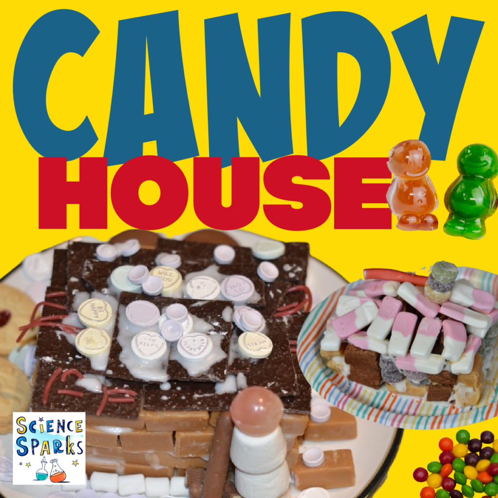 Image of mini houses made from sweets for an edible  STEM Challenge