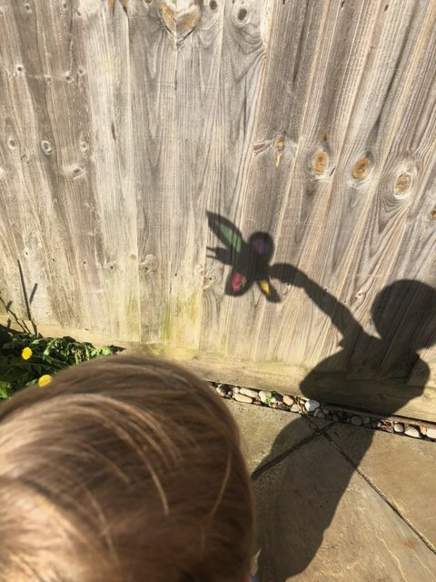 Child holding a butterfly shadow puppet made with cardboard and coloured cellophane. Cute colourful shadow puppet