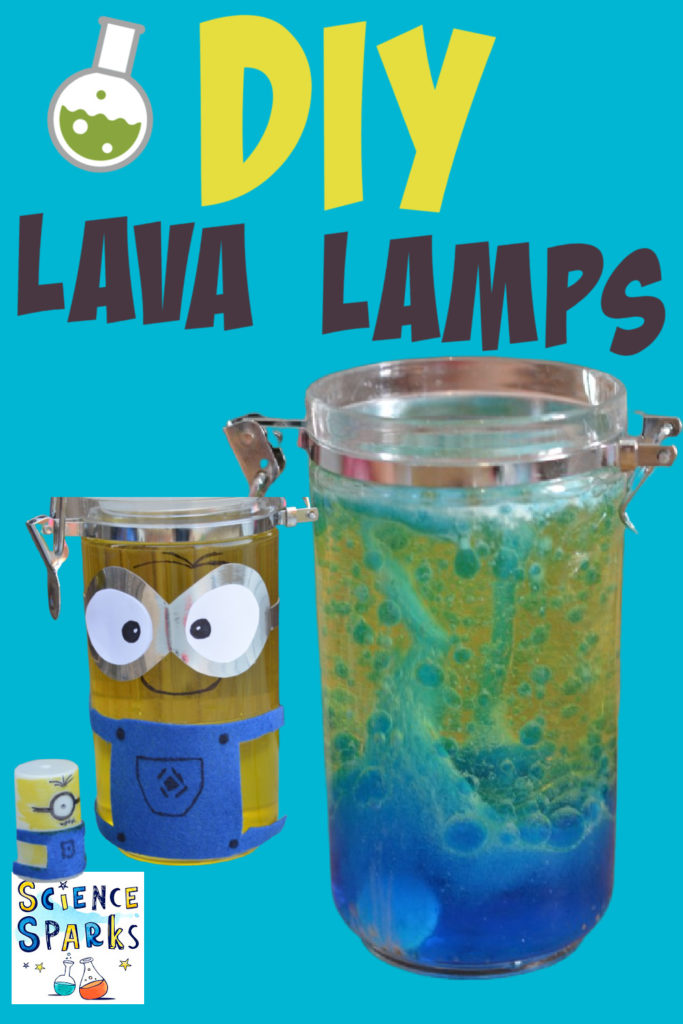 Blue homemade lava lamp bubbling.