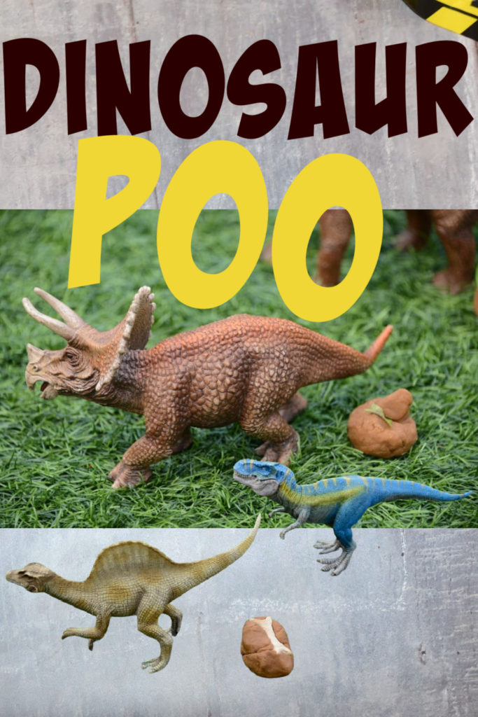 Image of Schleich dinosaurs and play dough poo with either bones or leaves in to show the difference between herbivores and carnivores.