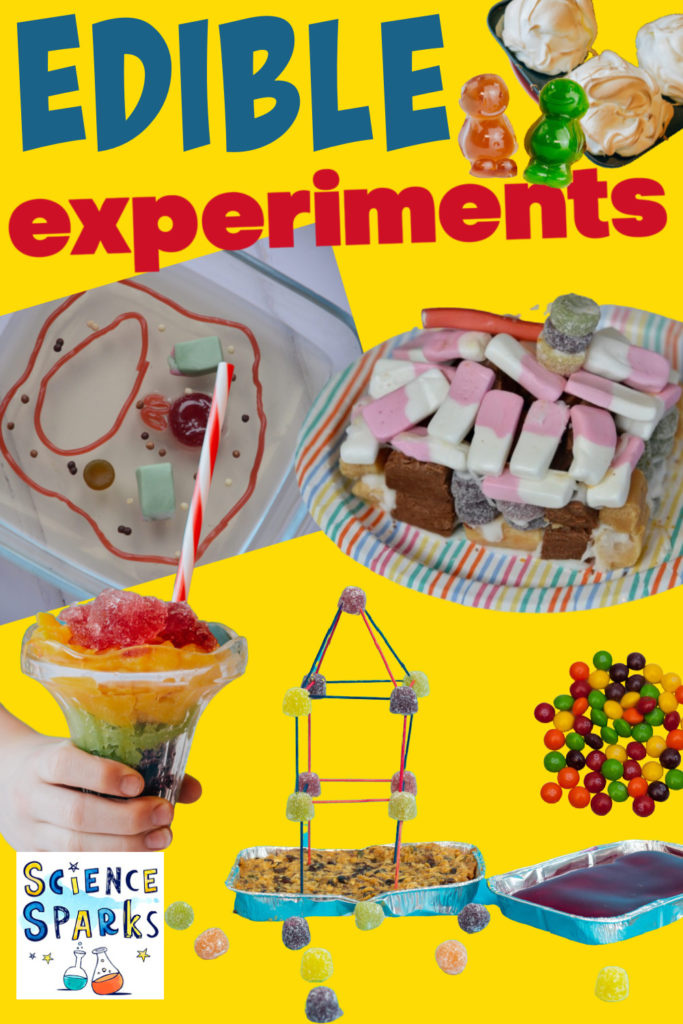Collage of easy edible experiments for kids. Toothpick candy towers, candy houses, jelly cell models and a homemade fruity slushy drink.