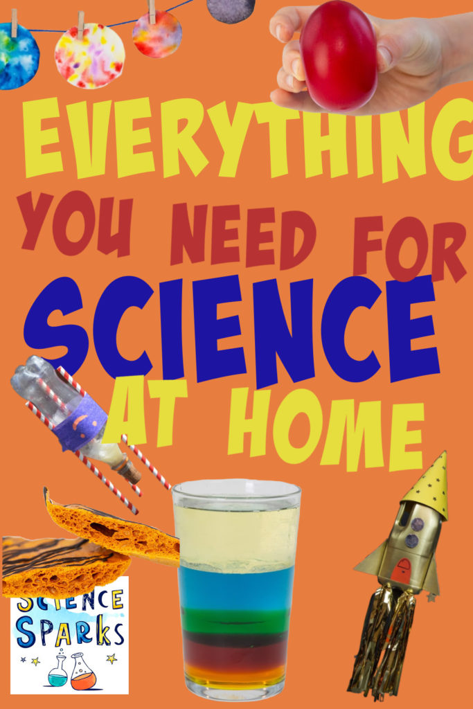 collage of easy science experiments for kids, to show materials you need for science at home