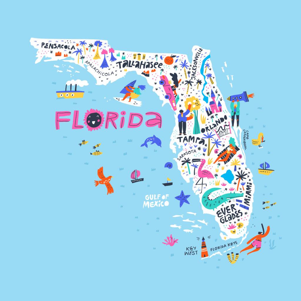 Florida map - cartoon version