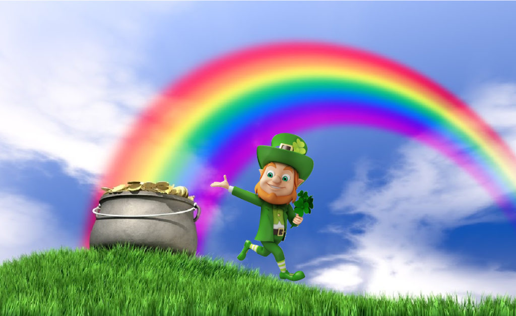 Cartoon image of a pot of gold and leprechaun at the end of a rainbow