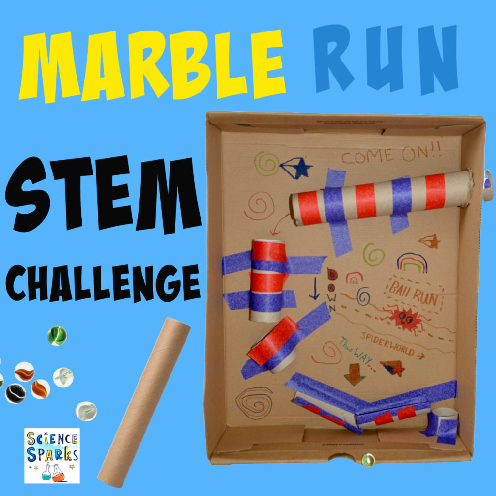 Image of a homemade marble run in a box