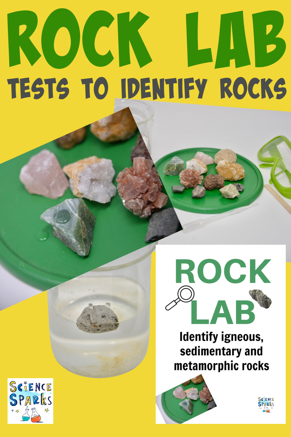 Collage of rocks and tests used to identify different types of rocks