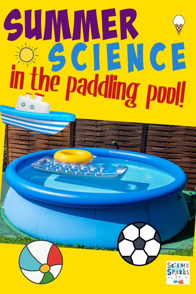 Image of a paddling pool, balls and a boat for summer science in the garden