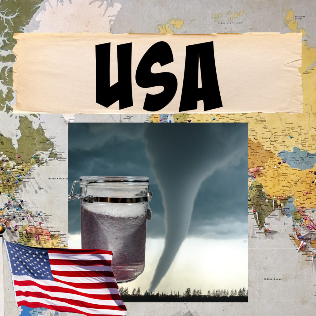 Tornado and a tornado in a jar as a science activity for an around the world series.