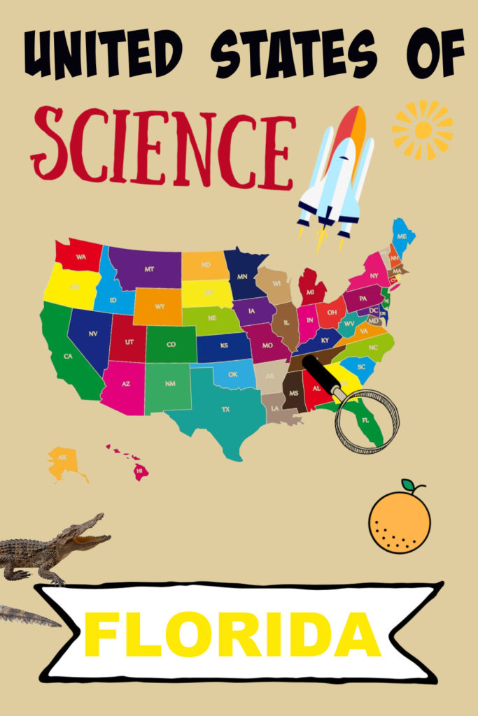 Image of Florida on a map of the united States and a rocket and orange