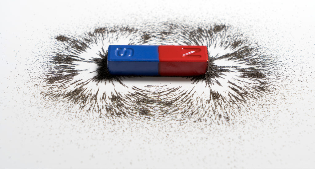 a magnet with iron filings around it showing the magnet field