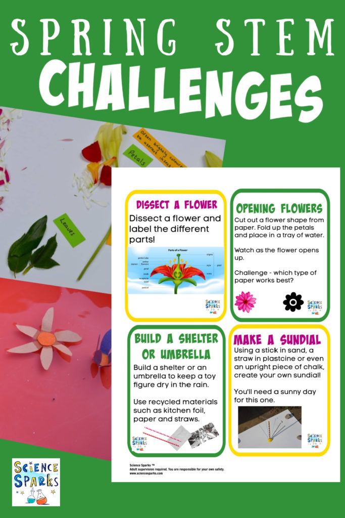 Collage of free printable spring STEM Challenges for kids