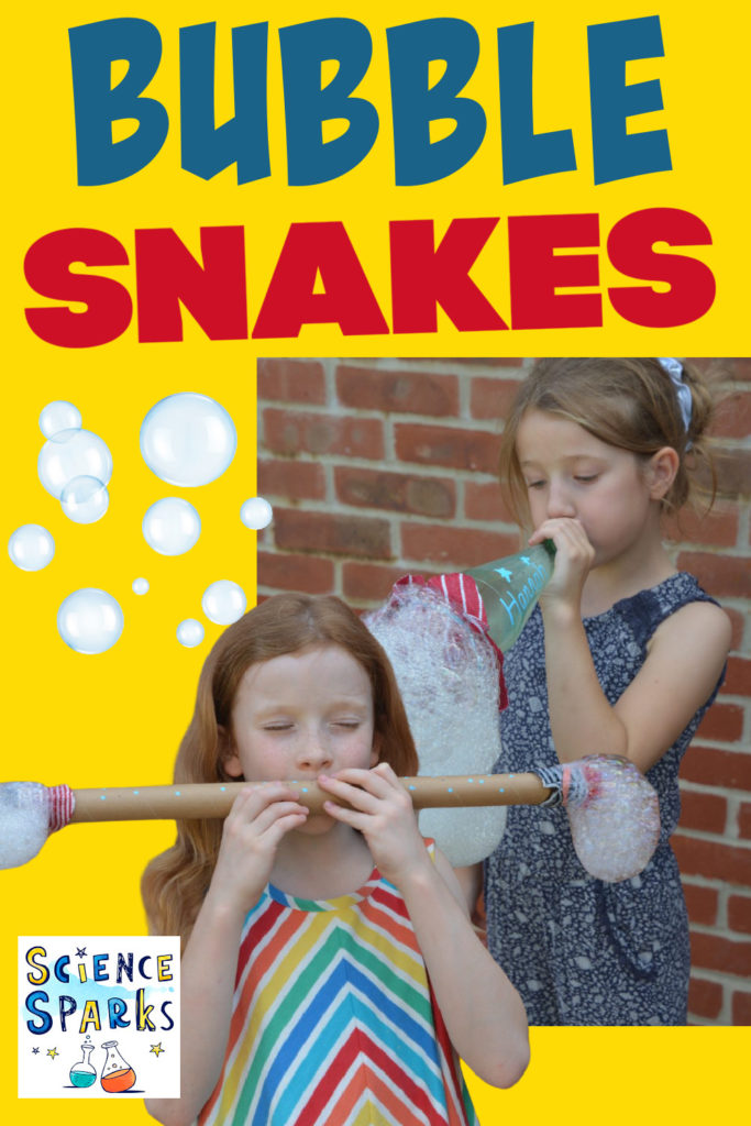 Image of children blowing down a bubble snake to make bubbles
