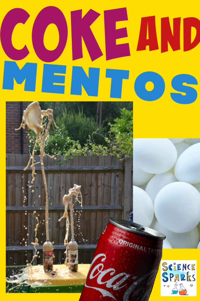 Image of a coke and mento explosion in a garden