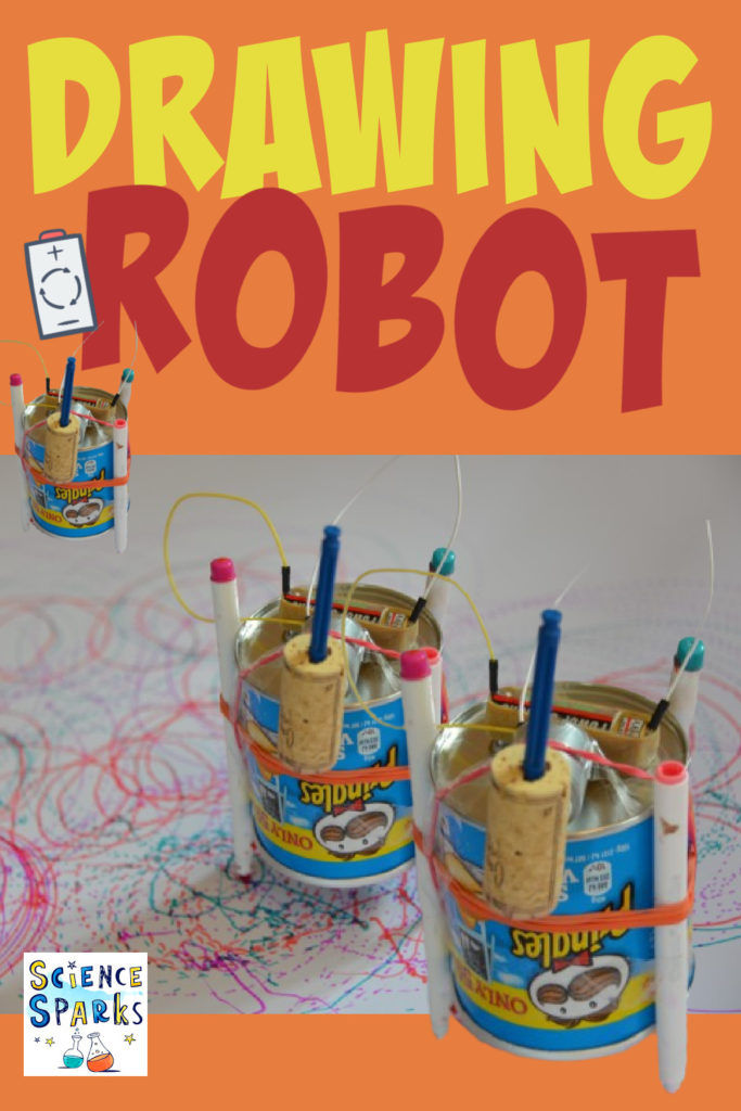 Drawing robot made with a simple circuit for a an electricity science project