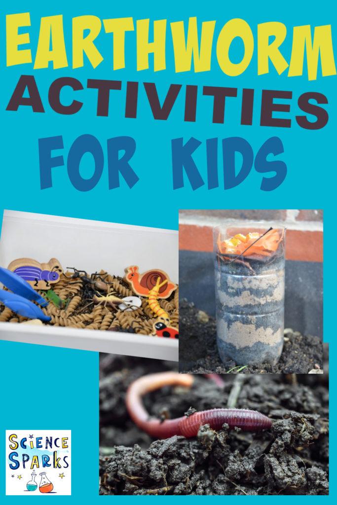 Imágenes de actividades de lombrices de tierra para niños, incluido un lombricero.