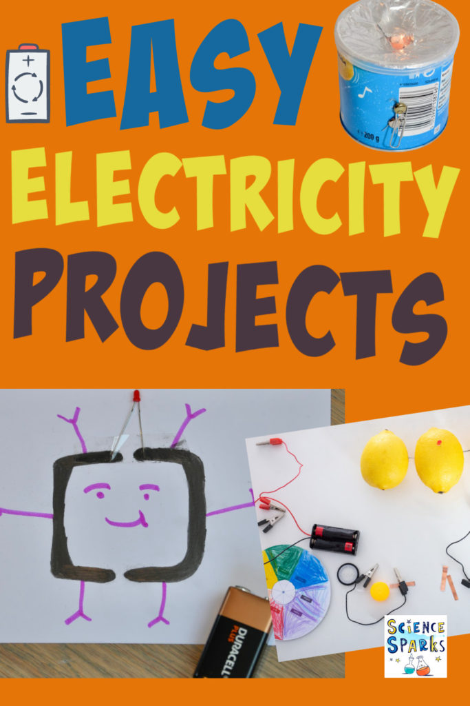 Collage of easy electricity projects for kids including a lemon battery, pencil circuit and DIY torch.