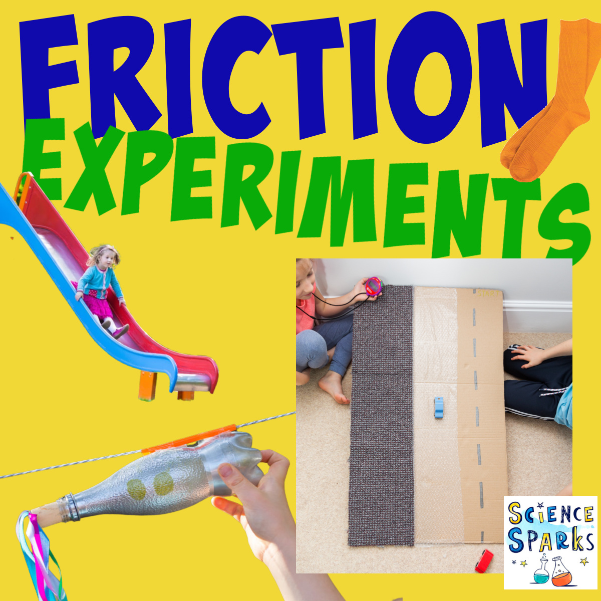 A friction ramp, rocket zip line and slide . Fun friction experiments for kids