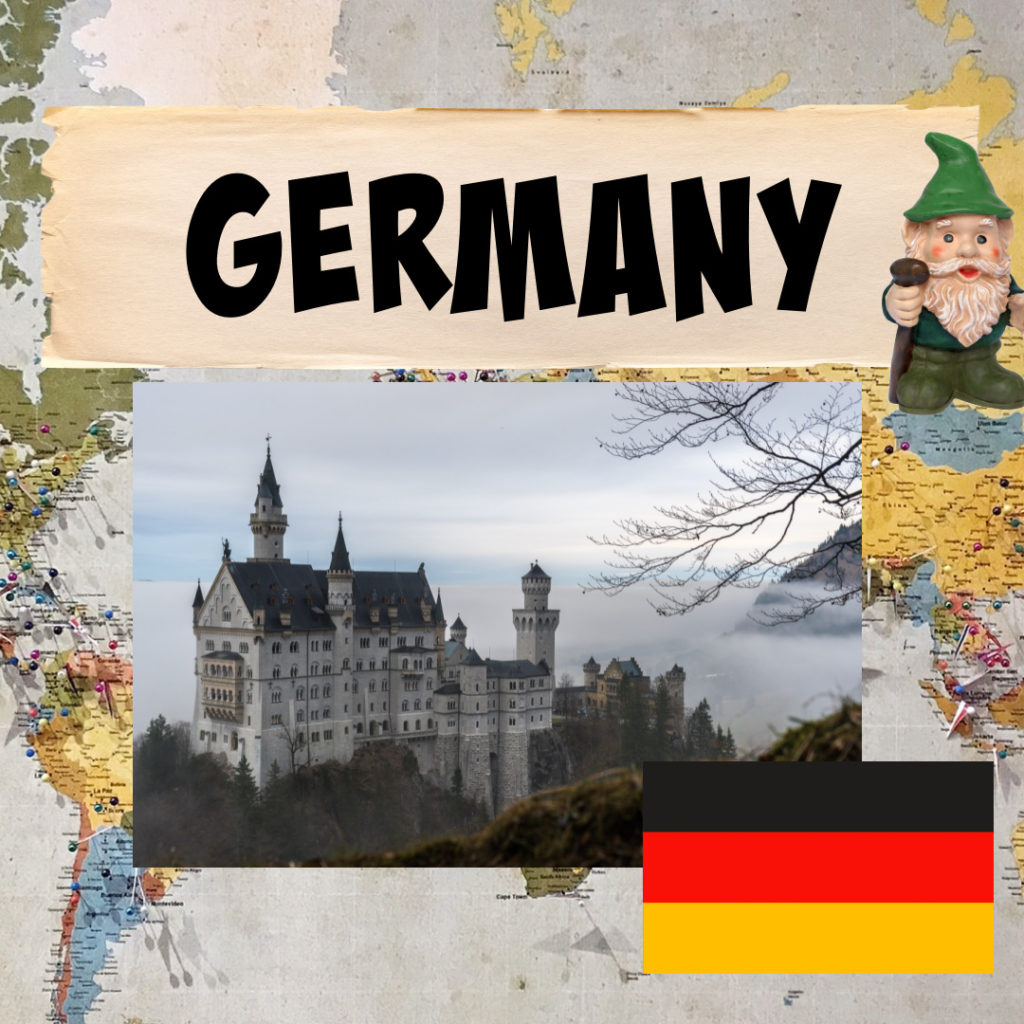Image of the German flag and a fairy tale castle