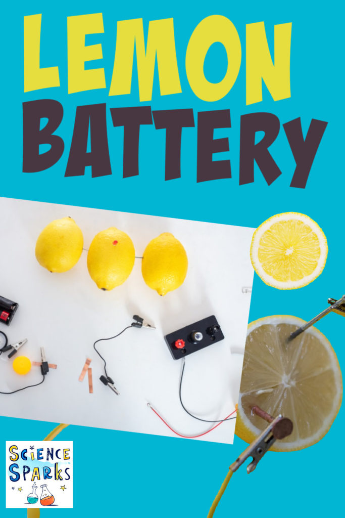 Lemon Batteries used to light an LED, find out how to make a lemon battery with this easy electronics activity for kids