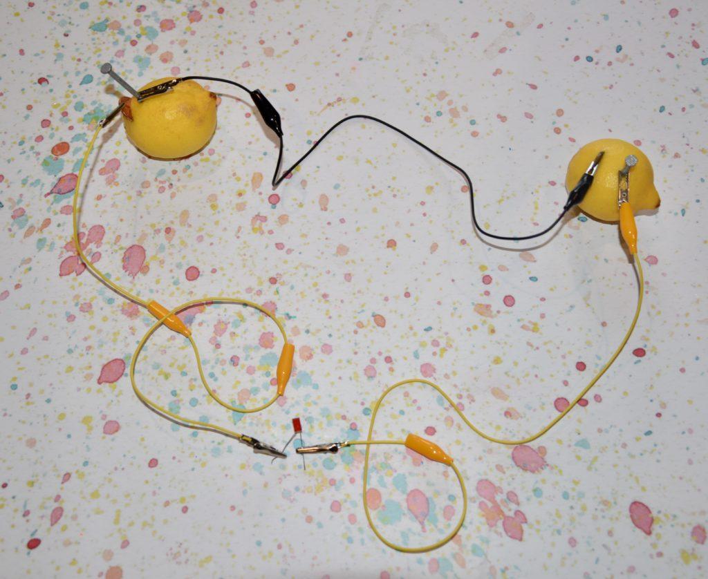 lemon battery circuit with an LED