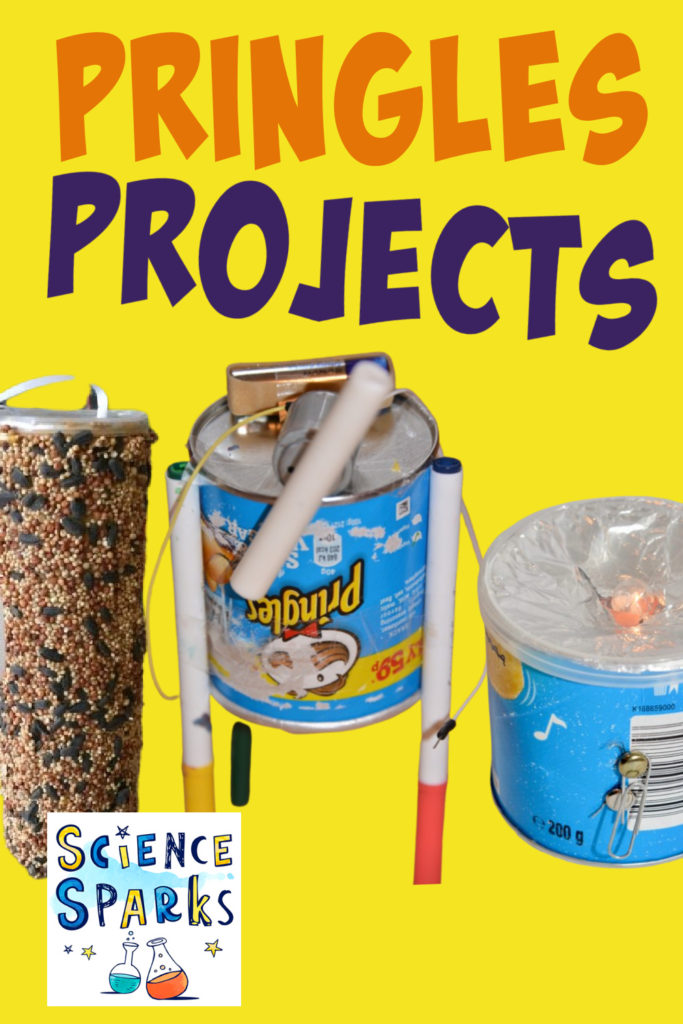 Image of 3 science projects made with a Pringles Can as the main part. A torch, bird feeder and drawing robot.