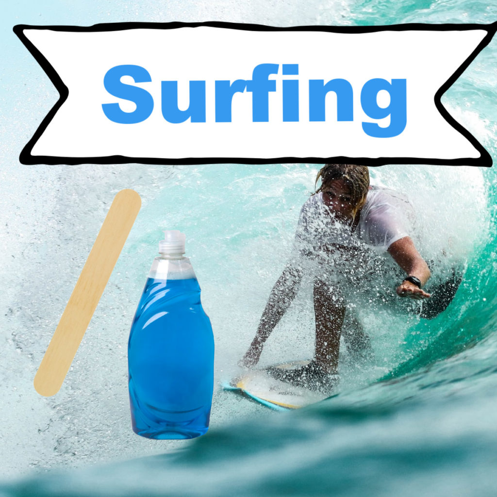 Image of a surfer, a lolly stick and washing up liquid ready for a surface tension science activity