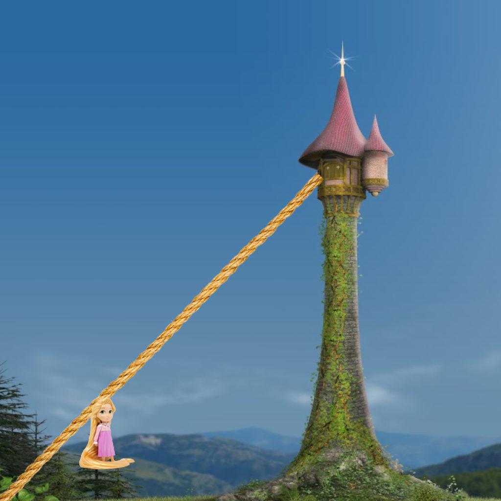 Zip line to rescue Rapunzel