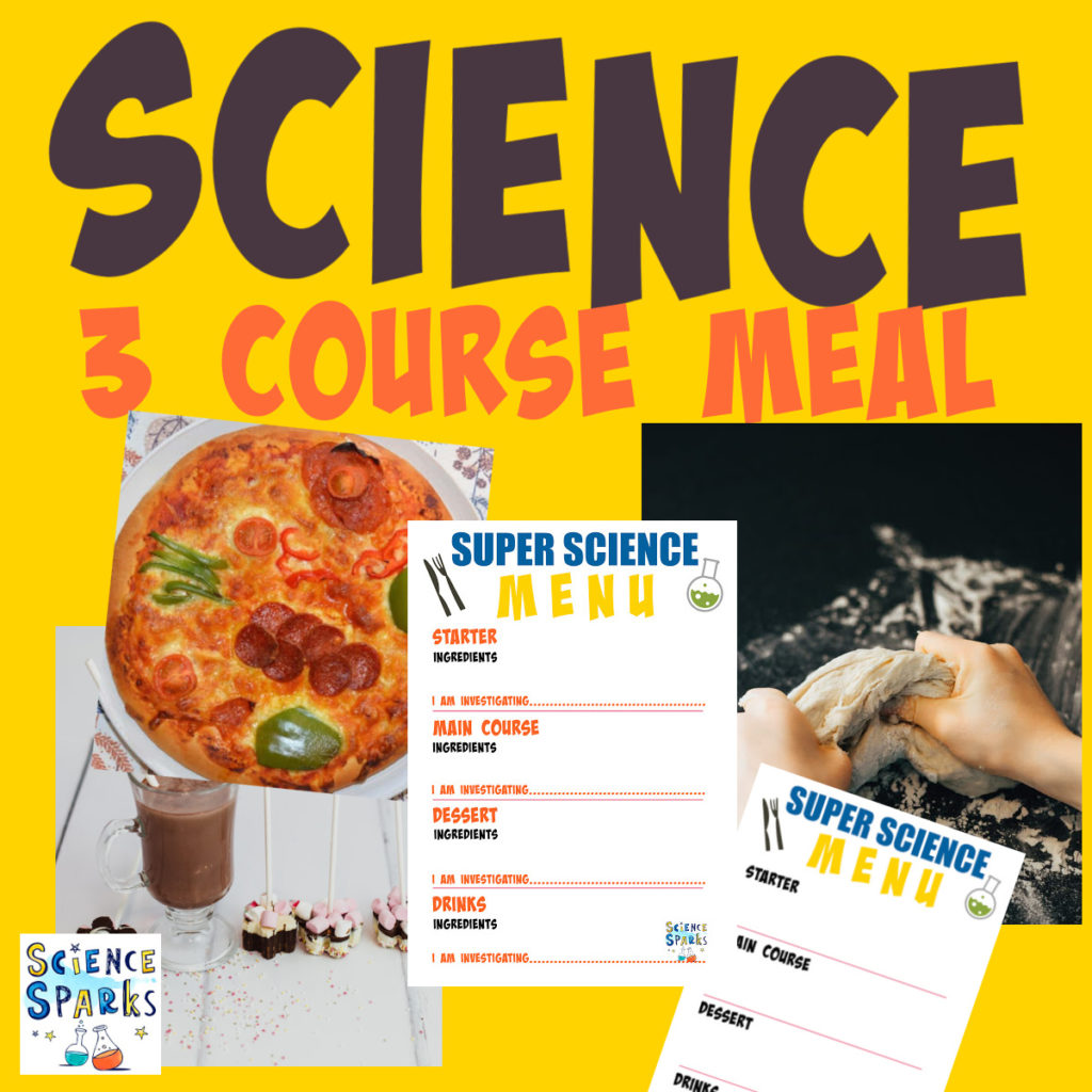 a meal of science experiments - pizza, bread making and even a printable menu