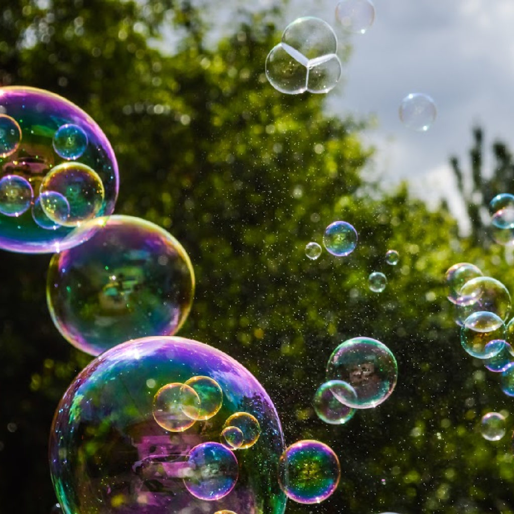 Image of bubbled with a forest background