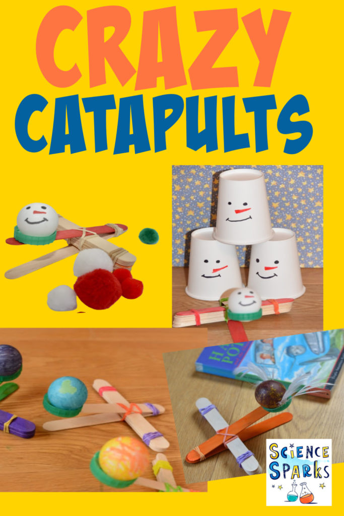 collage of different craft stick catapults