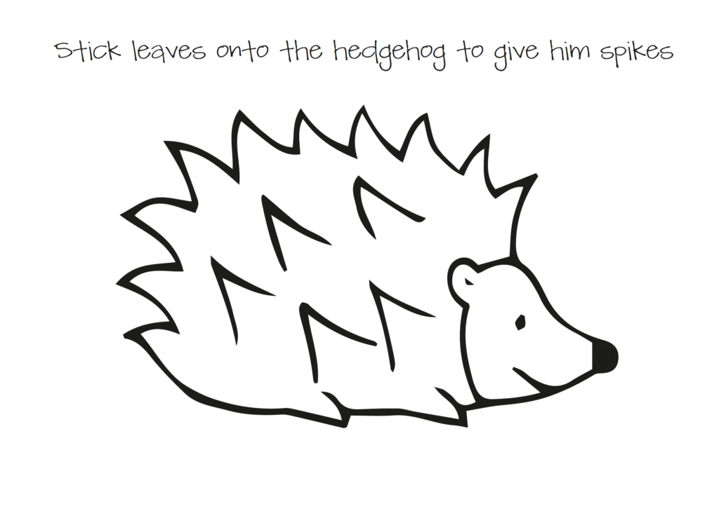 Leaf hedgehog template. Fill the hedgehog with colourful leaves