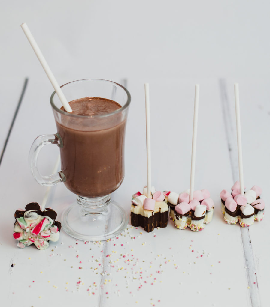 Image of a hot chocolate drink with hot chocolate sticks