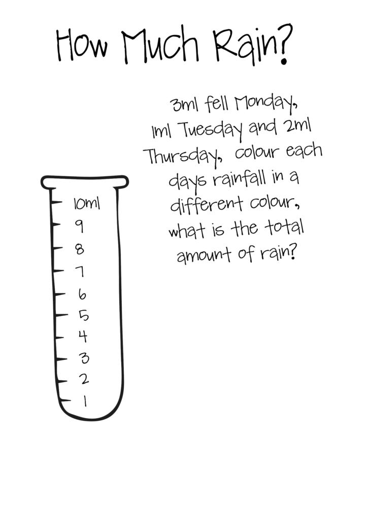 Rainfall and maths worksheet