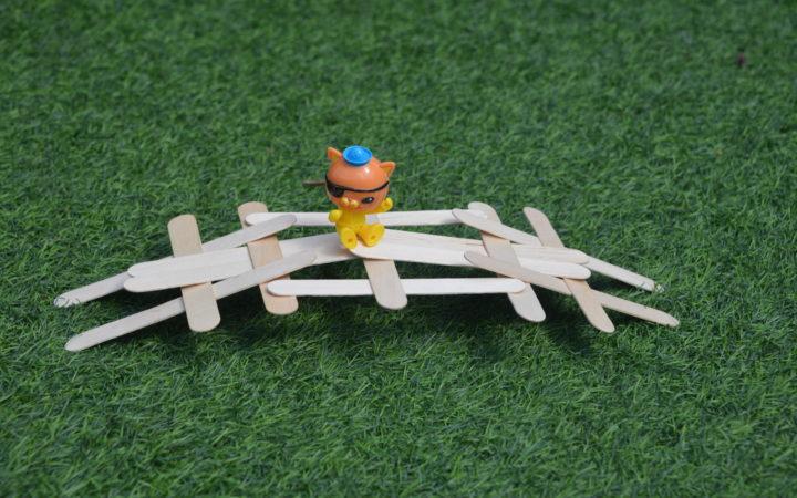 Leonardo da Vinci craft stick self-supporting bridge